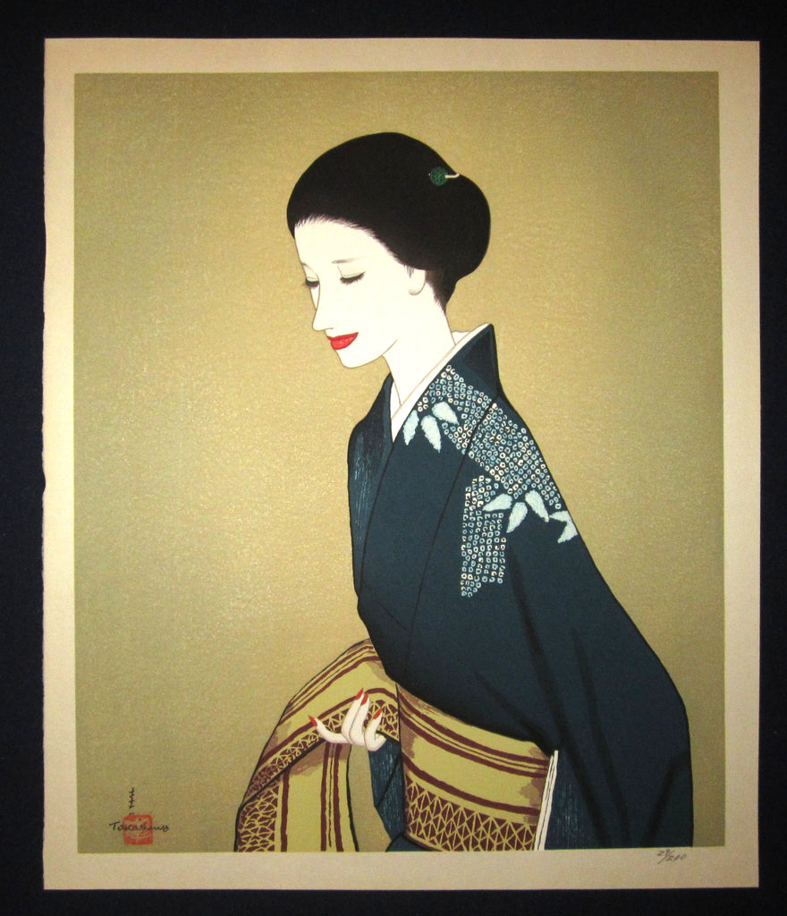 "This is a HUGE, LIMITED-NUMBER (29/200), very beautiful and special ORIGINAL Japanese woodblock print ""Woman in Kimono"" PENCIL SIGNED BY the famous Shin-Hanga woodblock print master Takasawa Keiichi (1914-1984) made in 1970s IN EXCELLENT CONDITION."