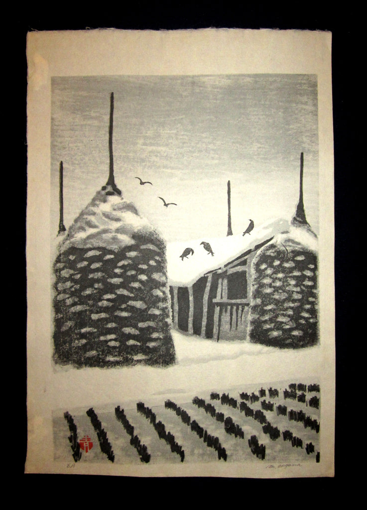 "You are bidding an Extra LARGE, very beautiful and rare LIMITED NUMBER (EA) ORIGINAL Japanese woodblock print masterpiece ""Snow Farm House"" PENCIL SIGNED by the famous Showa Sosaku Hanga woodblock print master Aoyama Masaharu (Seiji) (1893-1969), made in 1960s IN EXCELLENT CONDITION."