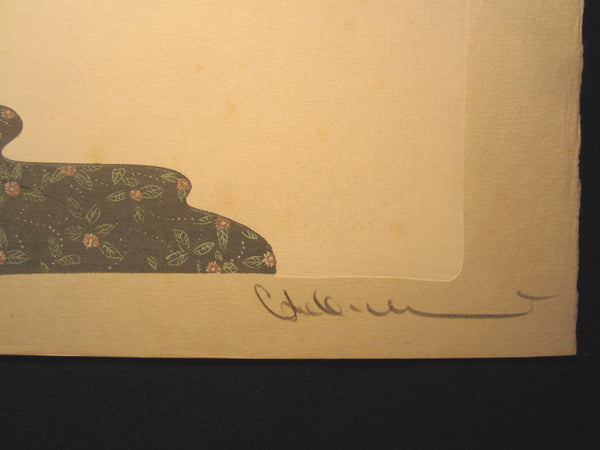 LARGE Orig Japanese Woodblock Print Nakajima Kiyoshi PENCIL contemplation of Wind Connection Bijin