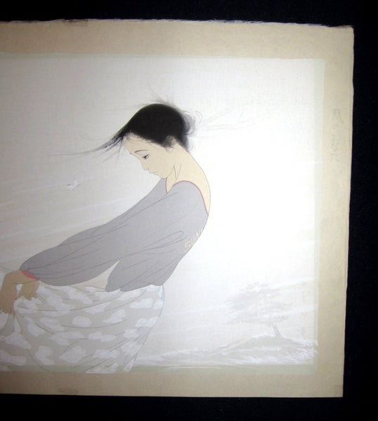LARGE Orig Japanese Woodblock Print Nakajima Kiyoshi Dance with Butterfly Wind Connection Bijin