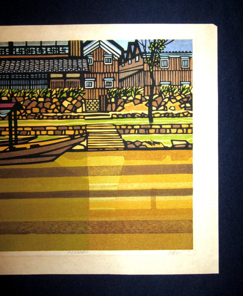 Great LARGE Orig Japanese Woodblock Print PENCIL Sign Limit# Clifton Karhu Fushimi 1978