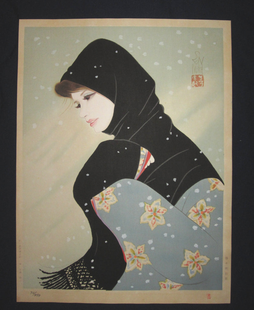 "This is a Huge very beautiful, unique and LIMITED-NUMBER (72/450) original Japanese woodblock print masterpiece ""Blizzard"" signed by the famous Showa Shin-Hanga woodblock print master Iwata Sentaro (1901-1974) published by the famous printmaker YuYuDo in 1970s IN EXCELLENT CONDITION."