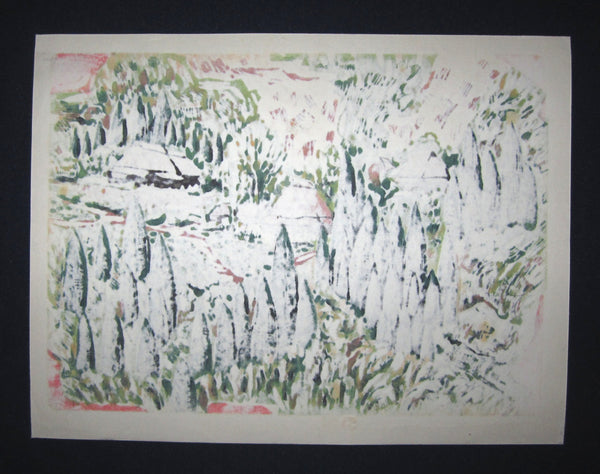 Original Japanese Woodblock Print Shin Hanga Limited# Pencil Sign Hitoshi Ueda Country Village 1980s