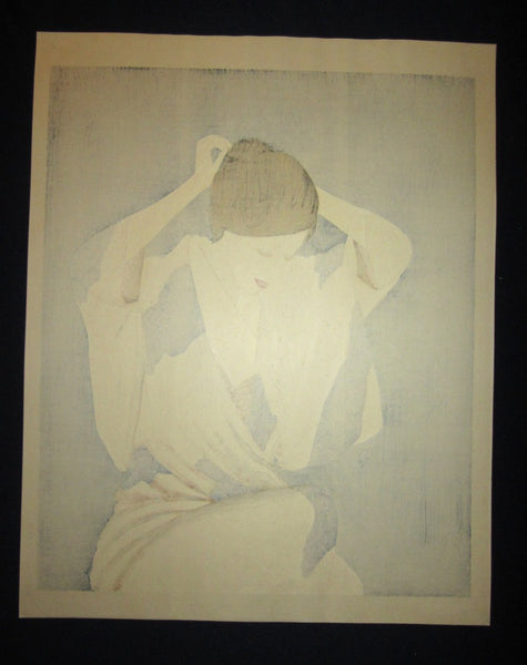 Huge Orig Japanese Woodblock Print Limit# Pencil Sign Takasawa Keiichi Woman Arranging Har