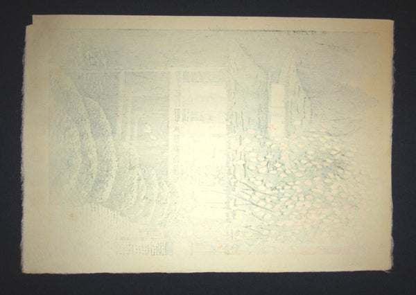 Orig Japanese Woodblock Print LIMITED-NUMBER Shiro Kasamatsu Serenity Temple 1967