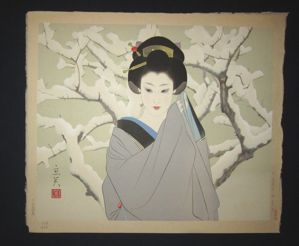 "This is  AN EXTRA LARGE very rare, beautiful and LIMITED-NUMBER (218/450) original Japanese woodblock print ""Snow Maiko"" from the Series ""Modern Beauties Bijin Ga, Gendai Bijin Fuzoku Gotai"" PENCIL SIGNED by the famous Shin-Hanga artist Shimura Tatsumi (1907-1980) published by the famous printmaker YuYuDo in 1970s IN EXCELLENT CONDITION."