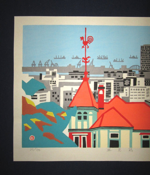 Huge Orig Japanese Woodblock Print PENCIL Limit# Kawanishi Yuzaburo Cupola Rooster Weathervane Kobe Harbor