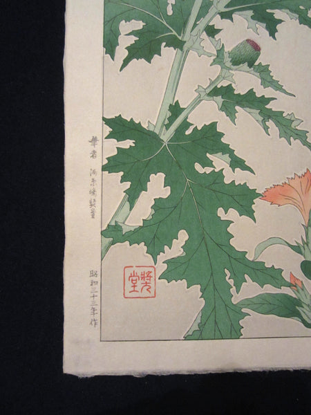 Original Japanese Woodblock Print Kawarazaki 1958 Unsodo WATERMARK Heath Rose Bokeh