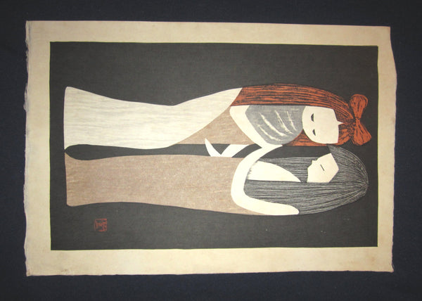 "You are bidding on a very beautiful, colorful and rare original Japanese woodblock print ""Two Girls"" PENCIL SIGNED by the Famous Taisho/Showa Shin Hanga woodblock print master Kaoru Kawano (1916-1965) made in Showa Era."