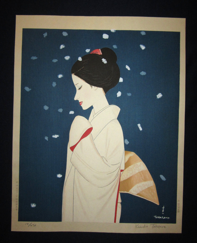 "This is a HUGE, LIMITED-NUMBER (14/470), very beautiful and special ORIGINAL Japanese woodblock print ""Snow Bijin"" PENCIL SIGNED BY the famous Shin-Hanga woodblock print master Takasawa Keiichi (1914-1984) published by the famous printmaker YuYuDo made in 1970s IN EXCELLENT CONDITION."