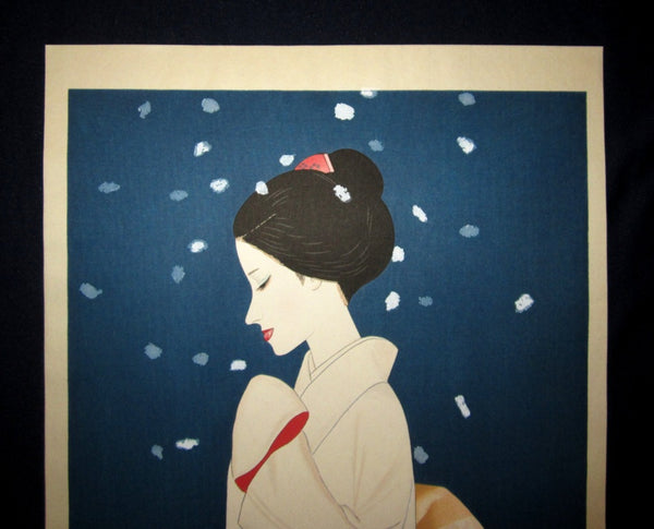 Huge Orig Japanese Woodblock Print Limit# Pencil Sign Takasawa Keiichi Snow Bijin