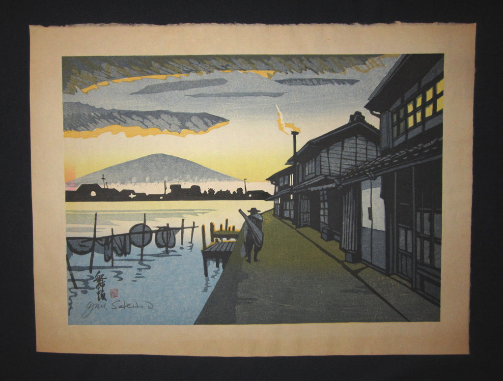 "This is a HUGE very beautiful and special ORIGINAL Japanese woodblock print ""Maisaka twilight"" signed by the Famous Taisho/Showa Shin Hanga woodblock print master Junichiro Sekino (1914 ~1988) made in Showa Era with original artist WATER MARK IN EXCELLENT CONDITION."