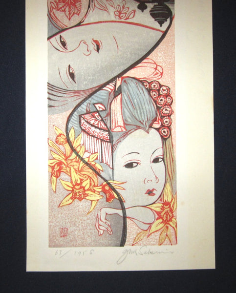 Huge Original Japanese Woodblock Print LIMIT# PENCIL Sign Junichiro Sekino Maiko Three Faces