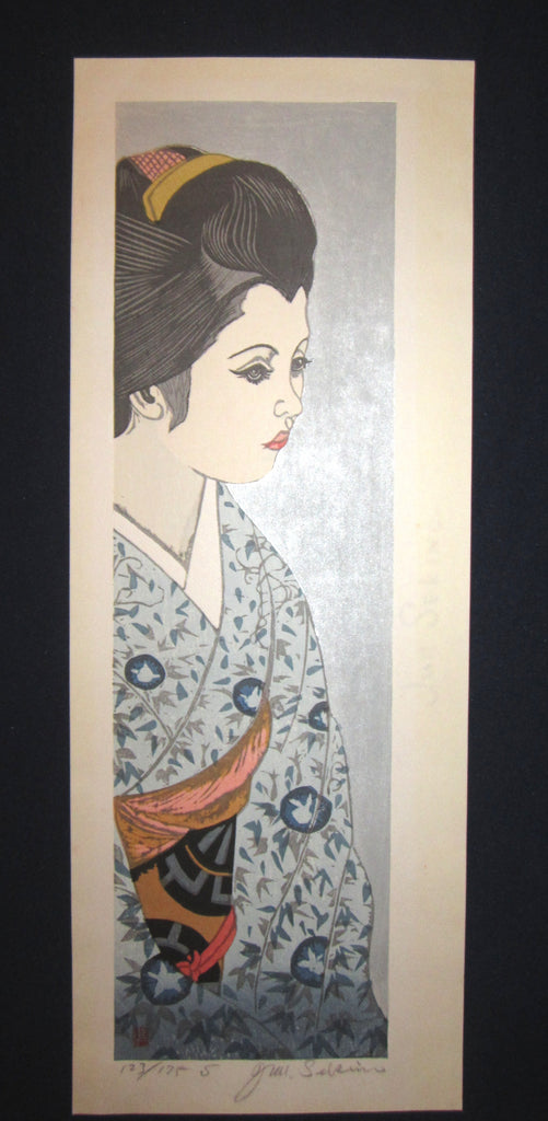"This is a HUGE very beautiful, special and LIMITED-NUMBER (123/175S) original Japanese woodblock print ""Maiko, Blue Kimono"" from the rare series ""Twelve Beautiful Maikos"" PENCIL SIGNED by the Famous Taisho/Showa Shin Hanga woodblock print master Junichiro Sekino (1914 ~1988) made in Showa Era IN EXCELLENT CONDITION."