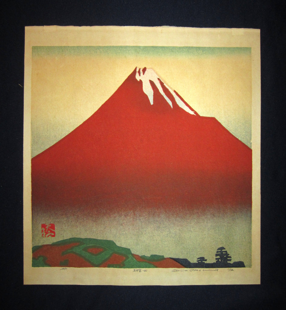 "This is a very EXTRA LARGE beautiful, special and LIMITED-NUMBER (AP, artist proof) original Japanese woodblock Shin Hanga print ""Mt Fuji in the Morning"" PENCIL SIGNED by the Famous Taisho/Showa Shin Hanga woodblock print master Hashimoto Okiie (1899-1993) made in 1972."