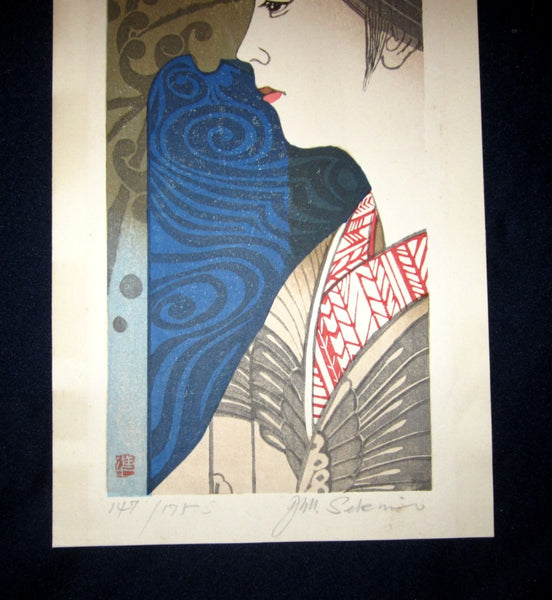 Huge Original Japanese Woodblock Print LIMIT# PENCIL Sign Junichiro Sekino Maiko Blue Lantern