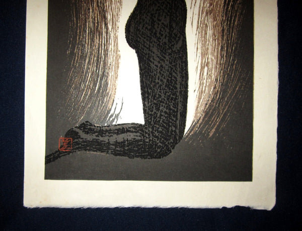 Original Japanese Woodblock Print Kaoru Kawano PENCIL Sign Nude Woman