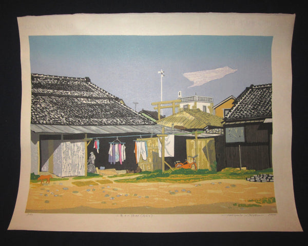 "This is a HUGE very beautiful LIMITED NUMBER (10/130) ORIGINAL Japanese Shin Hanga woodblock print ""Fisherman Village"" PENCIL SIGNED by the famous Showa Shin Hanga woodblock master Kitaoka Fumio (1918-) bearing TWO original artist's Water Marks made in 1994 IN EXCELLENT CONDITION."