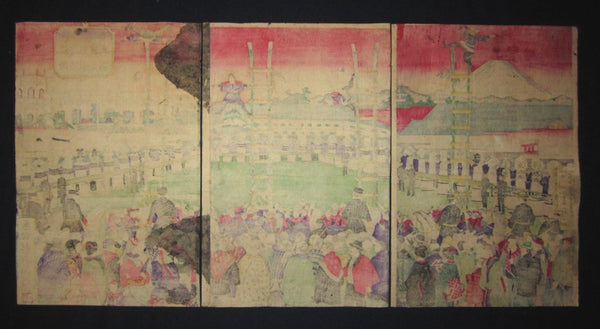 Orig. Japanese Woodblock Print Triptych Kunitoshi Tokyo Firefighter