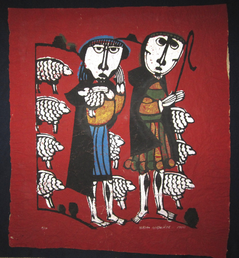 "This is a HUGE LIMITED-NUMBER (41/50) very special original Japanese woodblock print ""Shepherd"" signed by the famous Showa modern woodblock print master Sadao Watanabe (1913-1996) made in 1964."