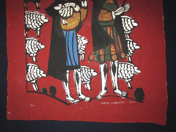 HUGE Orig Japanese Woodblock Print Sadao Watanabe Shepherd LIMITED-NUMBER