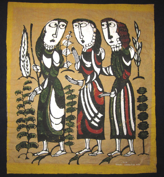 "This is a HUGE LIMITED-NUMBER (8/50) very special original Japanese woodblock print ""Three Women"" signed by the famous Showa modern woodblock print master Sadao Watanabe (1913-1996) made in 1962."
