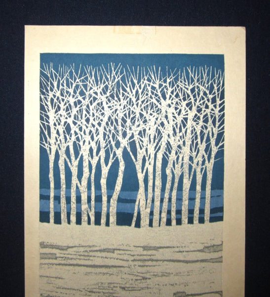 Large Orig Japanese Woodblock Print Fujita Fumio Pencil-Sign Limit# Tree Snow A