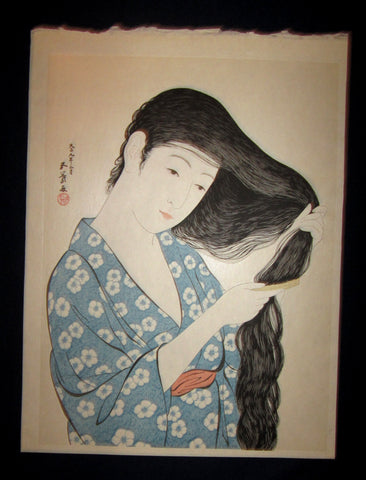 "This is a Extra Large very beautiful and rare Japanese Shin Hanga woodblock print ""Woman Combing Hair"" from the famous Shin-Hanga woodblock print artist Hashiguchi Goyo (1880-1921) published by the famous printmaker YuYuDo IN EXCELLENT CONDITION."