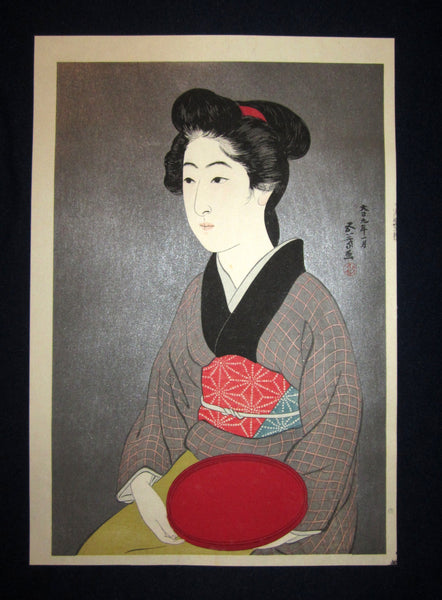 "This is a very beautiful and rare Japanese Shin Hanga woodblock print ""Woman Holding Red Dish"" from the famous Shin-Hanga woodblock print artist Hashiguchi Goyo (1880-1921) published by the famous printmaker YuYuDo IN EXCELLENT CONDITION."