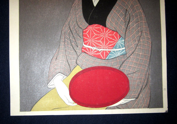 Japanese Woodblock Print Hashiguchi Goyo Woman Holding Red Dish