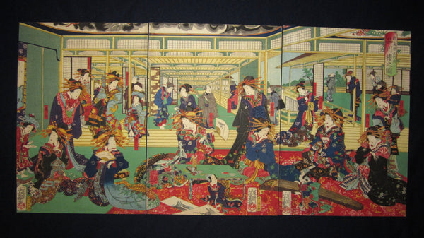 "This is a very beautiful and colorful ORIGINAL Japanese woodblock print triptych ""Geisha Brothel House"" signed by the famous Meiji woodblock print master Yoshiiku (1833-1904) made in Meiji Era IN EXCELLENT CONDITION."