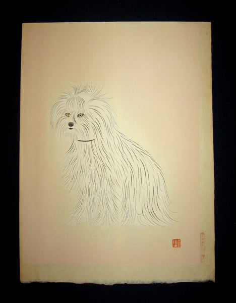 "This is a very beautiful and special original Japanese woodblock print ""Dog"" signed by an unknown artist published by the famous Kyoto Hanga Printmaker in 1950s IN EXCELLENT CONDITION."