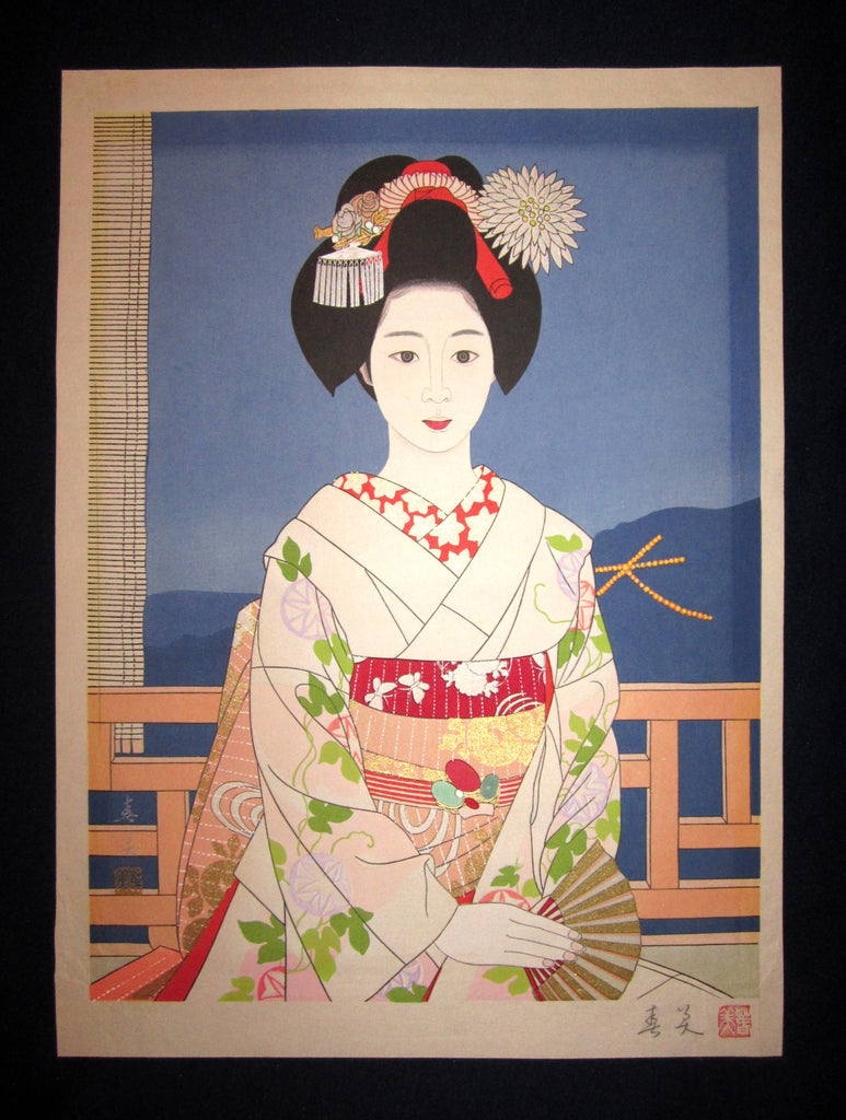 "This is an EXTRA LARGE, very beautiful and rare original Japanese woodblock print ""Geisha, Maiko"" signed by the Showa woodblock print master Tateishi Harumi (1906-1994)  made In Showa Era."