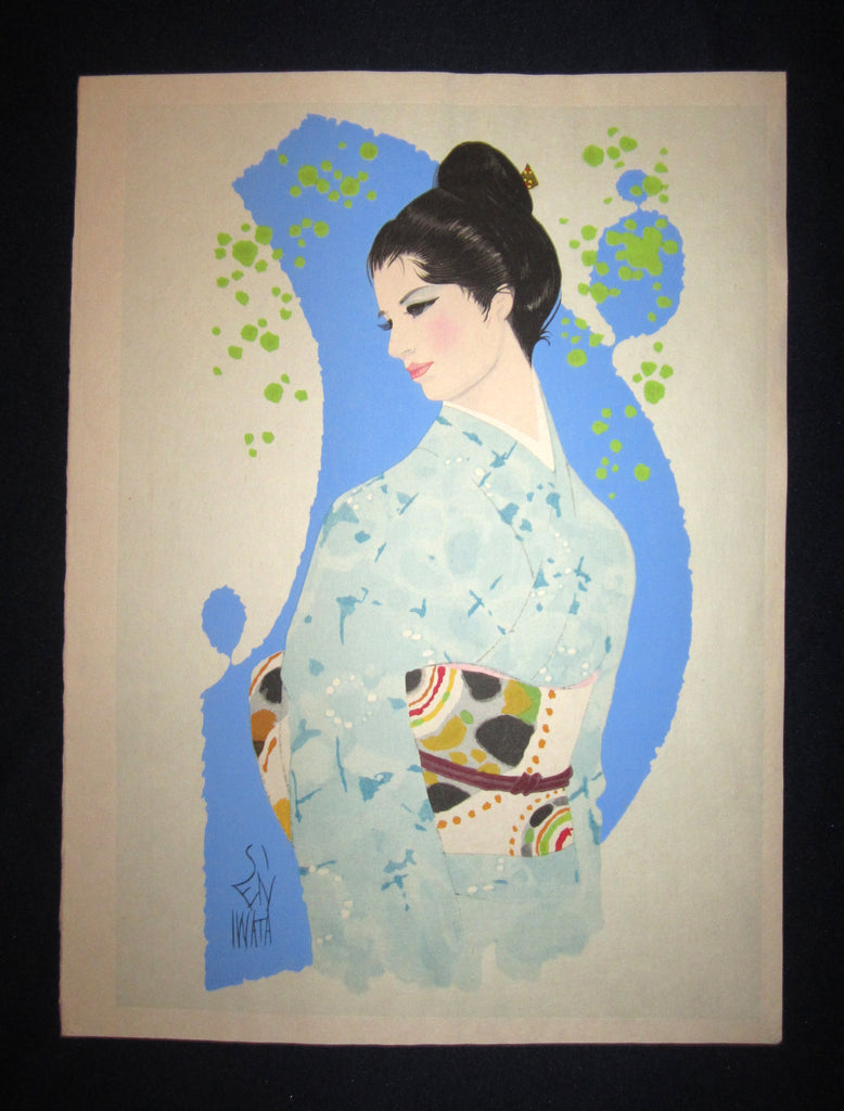 "This is a very beautiful and unique original Japanese woodblock print masterpiece ""Shallow Spring"" signed by the famous Showa Shin-Hanga woodblock print master Iwata Sentaro (1901-1974) made in 1970s IN EXCELLENT CONDITION."