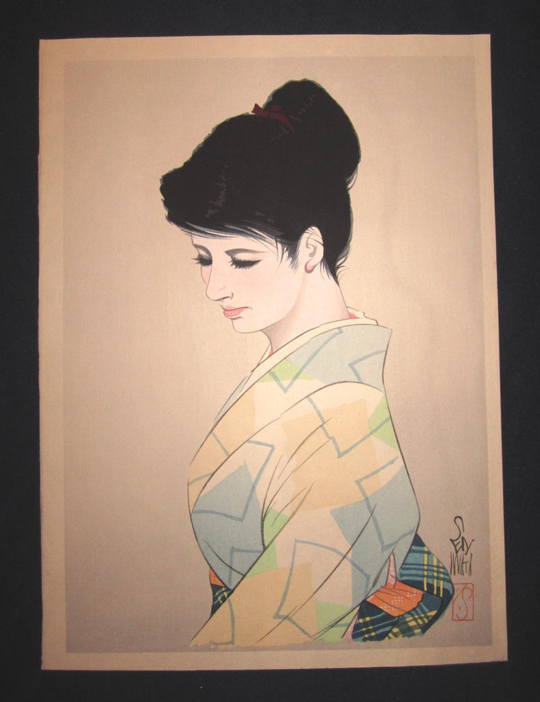 "This is a very beautiful and unique original Japanese woodblock print masterpiece ""Tender Pondering"" signed by the famous Showa Shin-Hanga woodblock print master Iwata Sentaro (1901-1974) made in 1970s IN EXCELLENT CONDITION."
