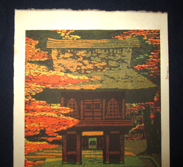 Orig Japanese Woodblock Print LIMITED-NUMBER Shiro Kasamatsu Zen Heirin-Ji Temple