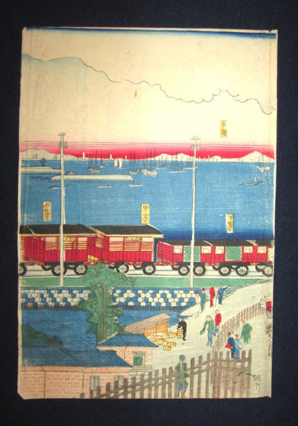 Orig Japanese Woodblock Print Triptych Original Edition Toyokuni Yokohama Harbor Train Meiji Restoration