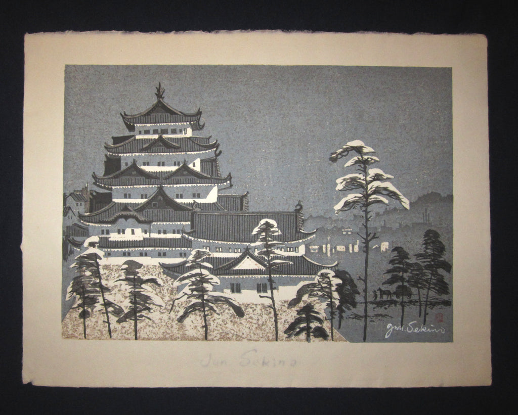 "This is a HUGE very beautiful and special original Japanese woodblock print ""Castle in Snow"" signed by the Famous Taisho/Showa Shin Hanga woodblock print artist Junichiro Sekino (1914 ~1988) made in 1980s with an artist ORIGINAL Water Mark IN EXCELLENT CONDITION."