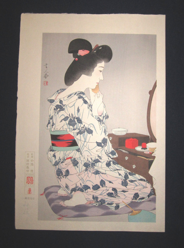 "This is an EXTRA LARGE very beautiful and rare Japanese woodblock print ""Makejup"" signed by the Showa woodblock print master Torii Kotondo (1900-1976)  BEARING THE ORIGINAL ISHUKANKOKAI PUBLISHER WATERMARK IN EXCELLENT CONDITION."