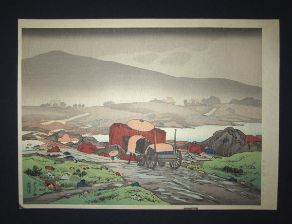 "This is a Huge very beautiful and rare Japanese Shin Hanga woodblock print ""Rain at Yabakei"" from the famous Shin-Hanga woodblock print artist Hashiguchi Goyo (1880-1921) published by the famous printmaker YuYuDo IN EXCELLENT CONDITION."