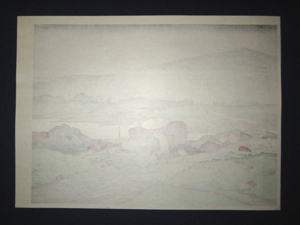 Huge Japanese Woodblock Print Hashiguchi Goyo Rain at Yabakei