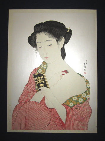 "This is a Huge very beautiful and rare Japanese Shin Hanga woodblock print ""Woman Applying Make-up"" from the famous Shin-Hanga woodblock print artist Hashiguchi Goyo (1880-1921) published by the famous printmaker YuYuDo IN EXCELLENT CONDITION."