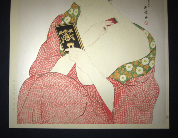 Huge Japanese Woodblock Print Hashiguchi Goyo Woman Applying Make-up