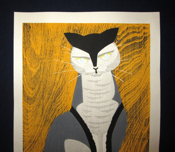 Huge Original Japanese Woodblock Print LIMIT# PENCIL Sign Ippei Kusaki Cat 1979