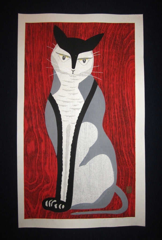 "This is a HUGE very beautiful and rare LIMITED EDITION (34/170) original Japanese Shin Hanga woodblock print ""Red Cat"" PENCIL SIGNED by the famous Showa Shin Hanga woodblock print master Ippei Kusaki (1937 - ) made in 1979."