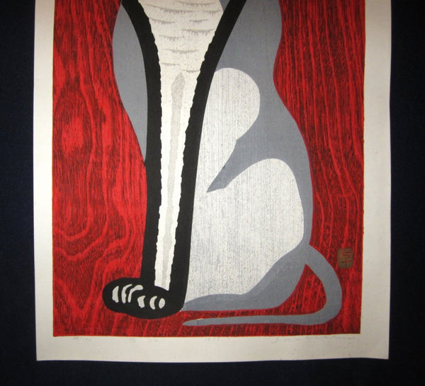Huge Original Japanese Woodblock Print LIMIT# PENCIL Sign Ippei Kusaki Red Cat 1979
