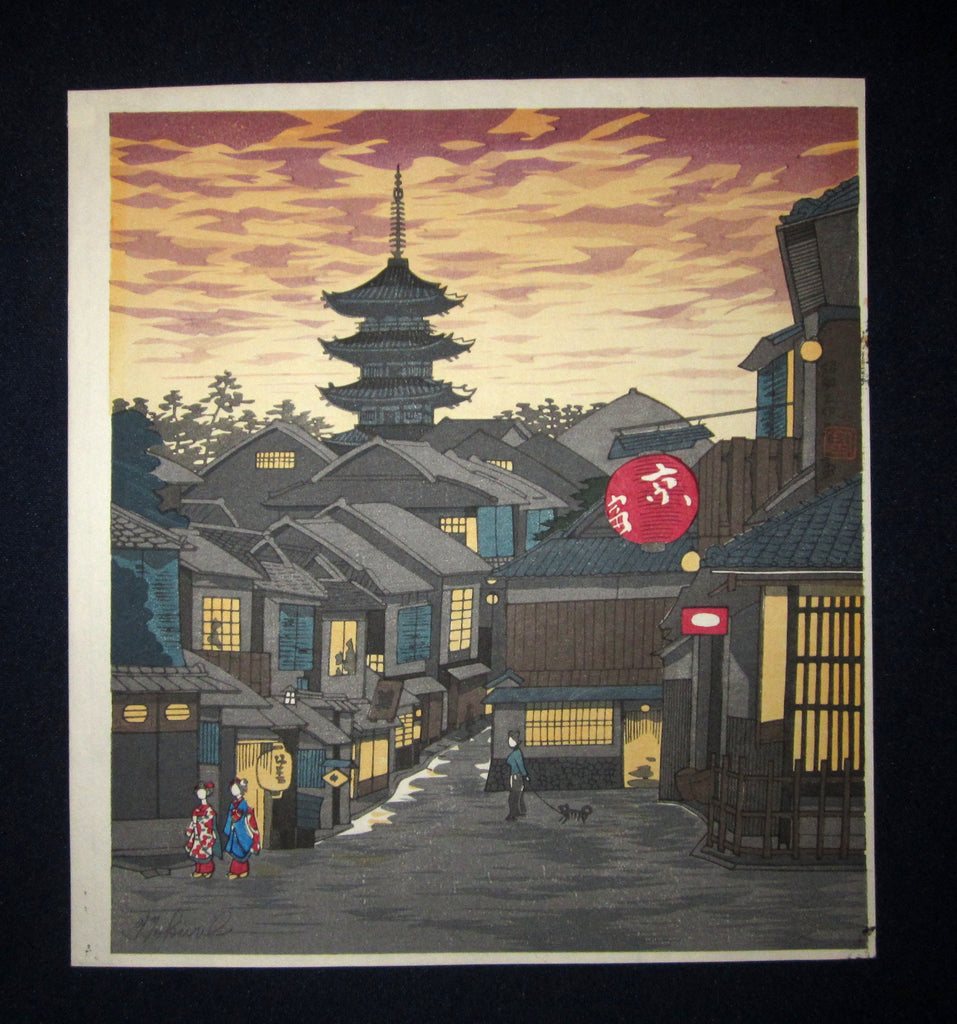 "This is a very a beautiful and special ORIGINAL Japanese woodblock print ""Kyoto Dusk"" signed by the famous Showa Shin Hanga woodblock print master Tomikichiro Tokuriki (1902-1999) made in 1950s IN EXCELLENT CONDITION."