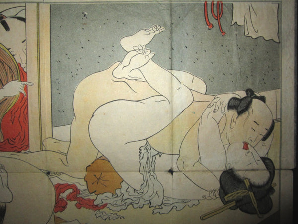 Original  Edo/MEIJI  Japanese Woodblock Print Erotic Shunga Brothel House Folding Book
