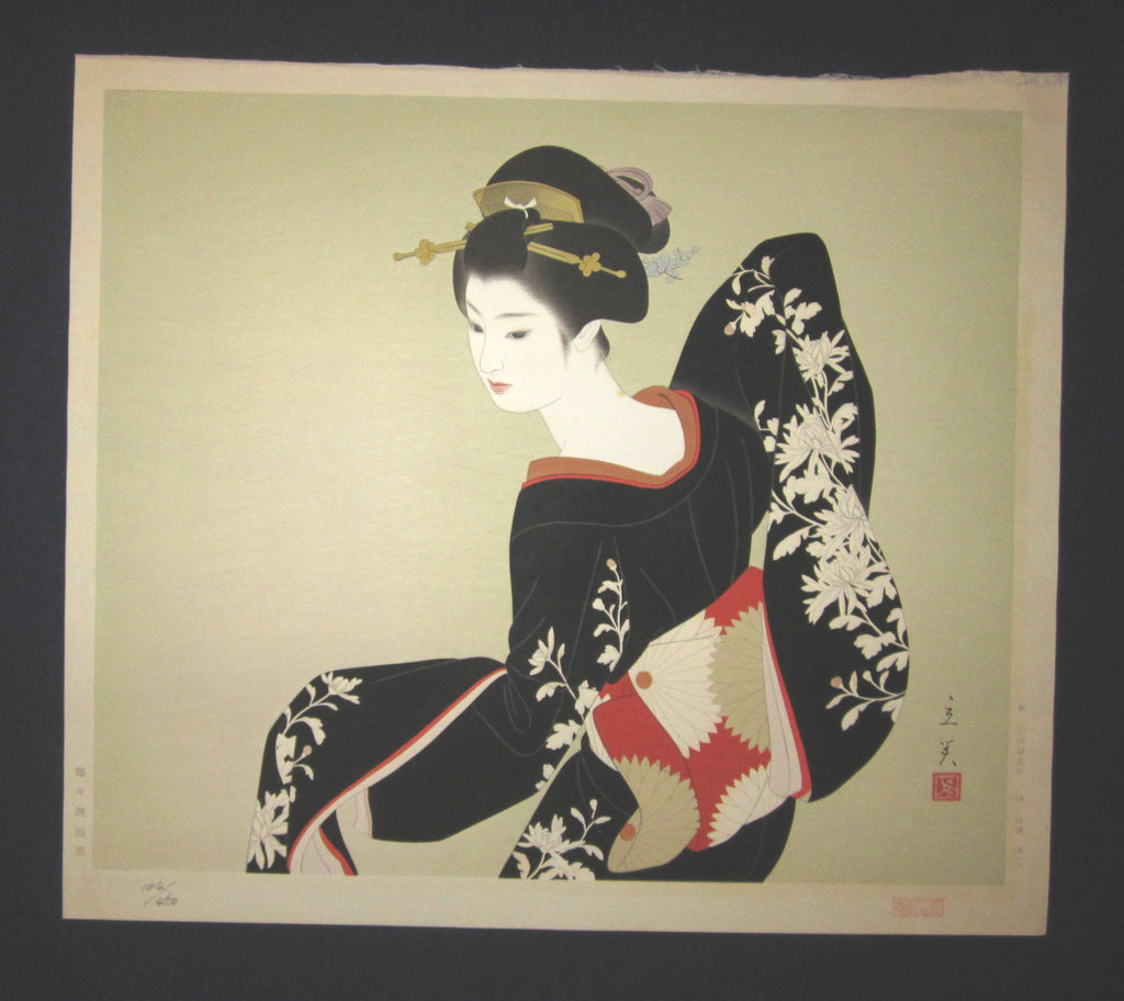 "This is AN EXTRA LARGE very rare, beautiful and LIMITED-NUMBER (104/450) original Japanese woodblock print ""Dancing Maiko"" from the Series ""Modern Beauties Bijin Ga, Gendai Bijin Fuzoku Gotai"" signed by the famous Shin-Hanga artist Shimura Tatsumi (1907-1980) published by the famous printmaker YuYuDo in 1970s IN EXCELLENT CONDITION."