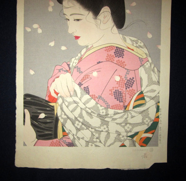Orig Japanese Woodblock Print Shimura Tatsumi PENCIL LIMITED# Flower Blowing Snow 1953